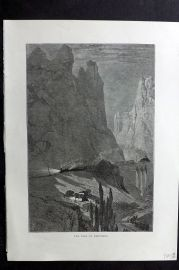 Picturesque Europe 1870s Antique Print. Pass of Pancorbo, Spain